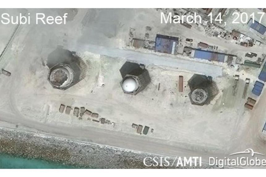 Construction is shown on Subi Reef, in the Spratly Islands, in the disputed South China Sea on March 14, 2017, according to a satellite image released by the CSIS Asia Maritime Transparency Initiative.