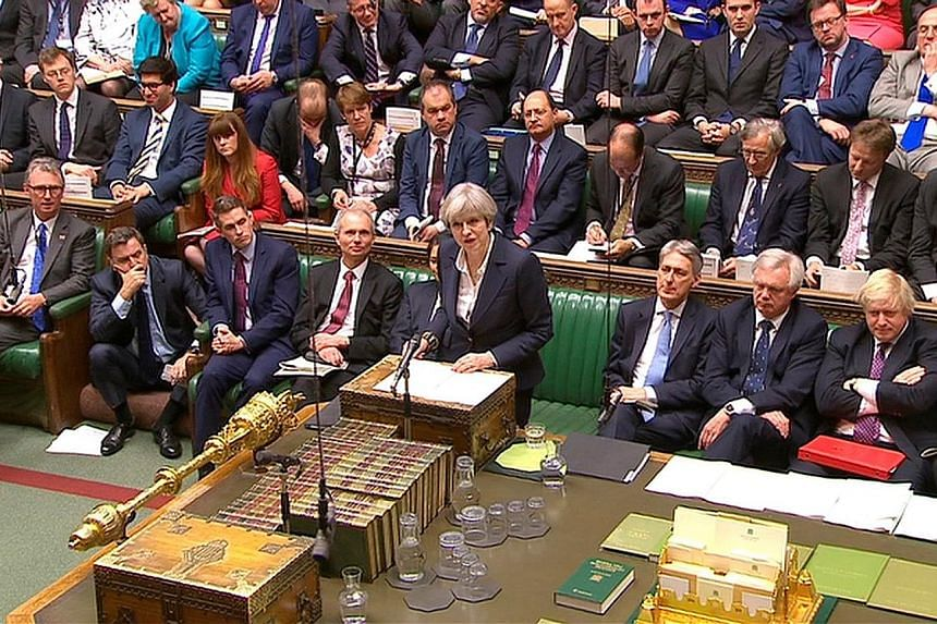 """British Prime Minister May announcing in Parliament yesterday that she had sent the letter to the European Union triggering Brexit. """"The Article 50 process is now under way, and in accordance with the wishes of the British people, the United Kingdom"""