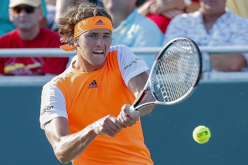 Alexander Zverev in action against Stan Wawrinka, whom he defeated 4-6, 6-2, 6-1 in the fourth round at the Miami Open. The 19-year-old German will meet Nick Kyrgios in the quarter-final.