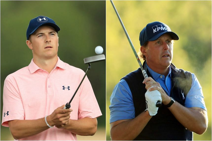 Jordan Spieth (left) and five-time Major winner Phil Mickelson (right) begin play on Thursday at the PGA Houston Open.