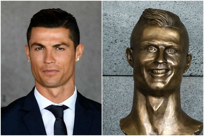 Footballer Cristiano Ronaldo (left) and his statue at the Cristiano Ronaldo Airport.
