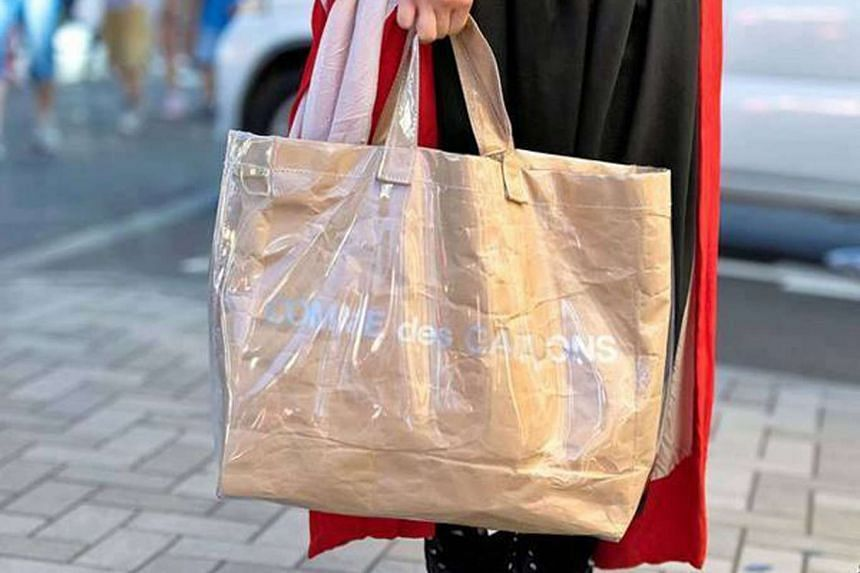 PVC tote bag from Comme des Garcons.
