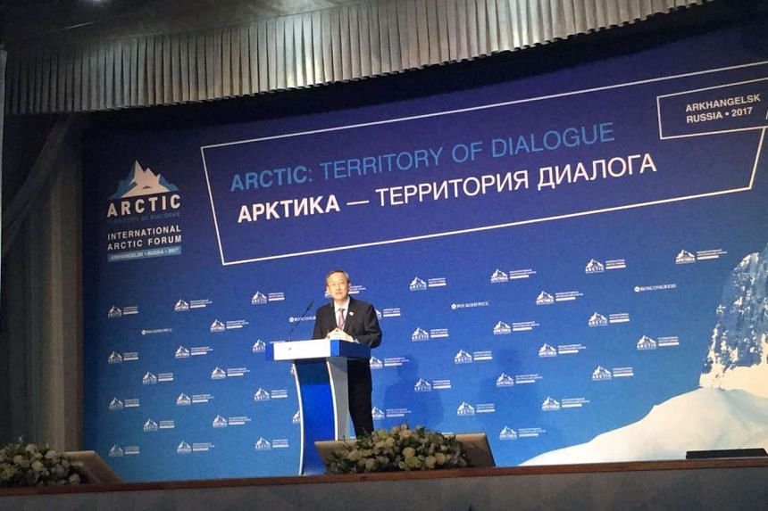 """Minister of State in the Prime Minister's Office and Ministry of Manpower Sam Tan delivering remarks at the opening of the 4th International Arctic Forum """"The Arctic: Territory of Dialogue"""" on March 29, 2017."""