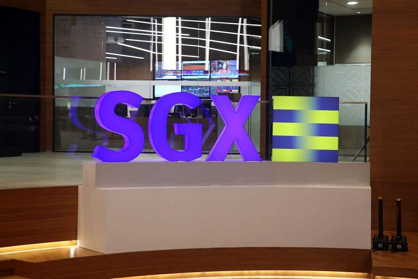 The SGX logo in SGX Centre, Singapore.