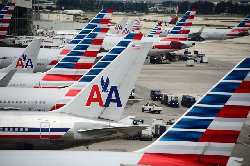 American Airlines passenger planes on the tarmac at Miami International Airport in the US.
