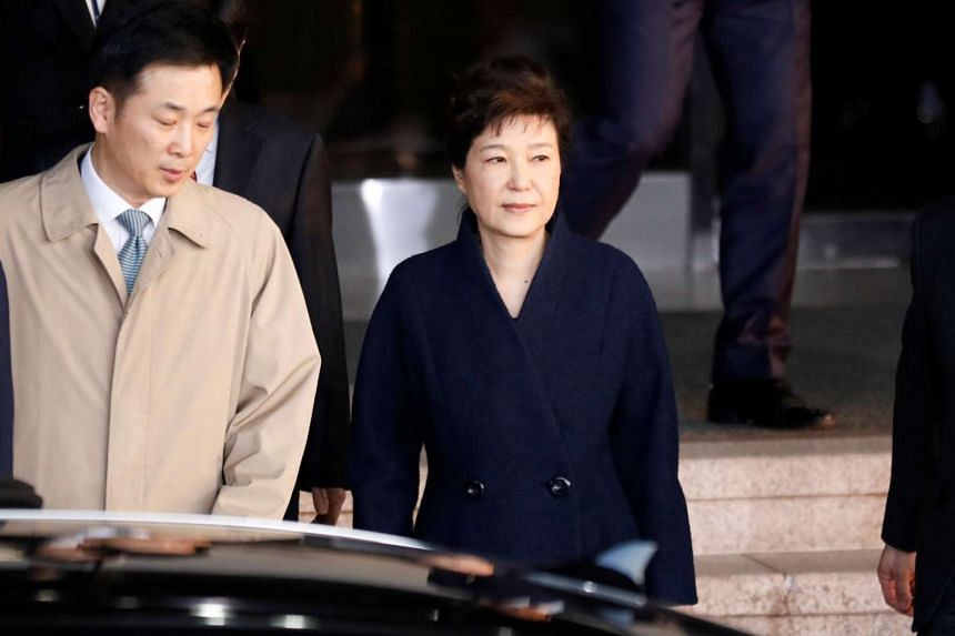 South Korea's ousted leader Park Geun Hye leaves a prosecutor's office in Seoul, South Korea on March 22, 2017.