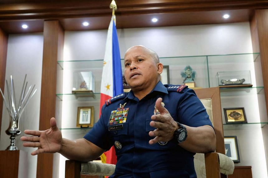 Philippine National Police chief Ronald dela Rosa acknowledged the difficulty in halting a surge in methamphetamine imports from China despite a campaign that has claimed thousands of lives in an interview on March  30, 2017, at the the Philippine Na