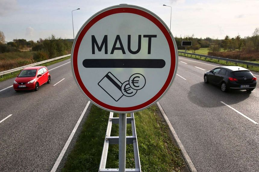 A toll (maut in German) sign on a highway in Rostock, Germany.