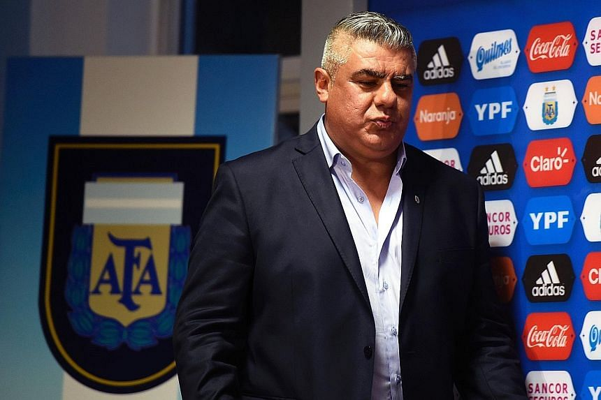 The newly-elected president of Argentina's Football Association, Claudio Tapia, arriving at a press conference to announce his appointment. Argentina have quite a task on their hands to qualify for the 2018 World Cup automatically.
