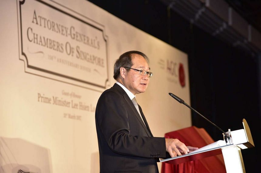 Attorney-General Lucien Wong giving the opening remarks at The Attorney-General's Chambers (AGC) 150th Anniversary.