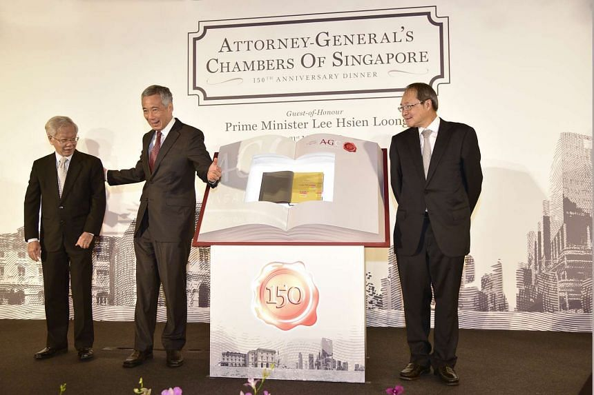 (From left) Former Chief Justice Chan Sek Keong, Prime Minister Lee Hsien Loong and Attorney-General Lucien Wong at the book launch.