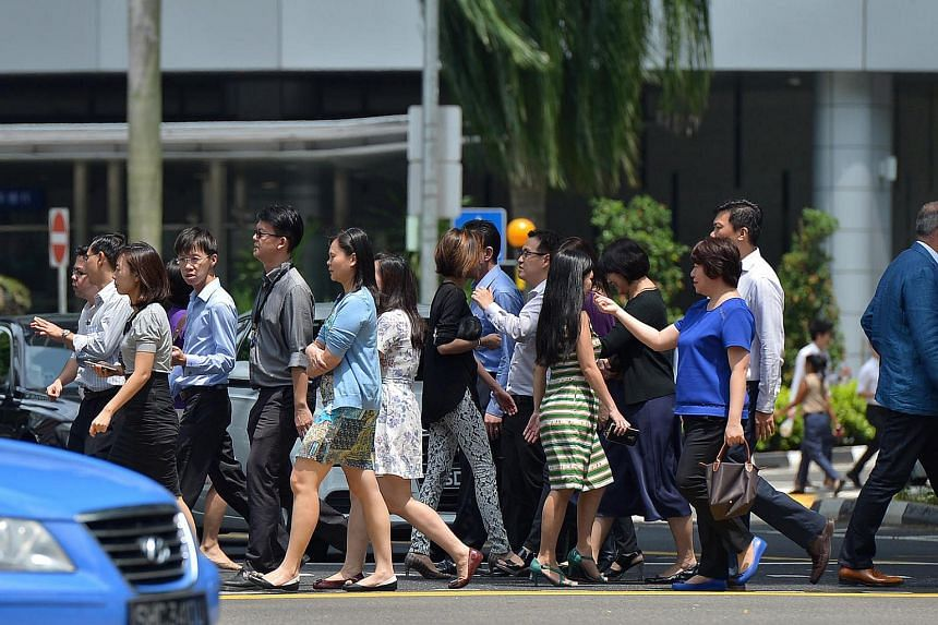 The office crowd in Central Business District in Singapore.