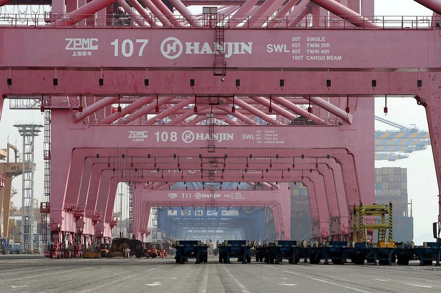 A container terminal of South Korea's Hanjin Shipping in the southeastern port city of Busan.