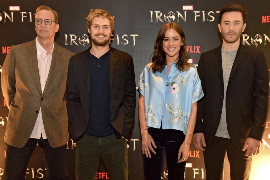 (From left) Show creator Scott Buck, and actors Finn Jones, Jessica Stroup and Tom Pelphrey at the press conference in Singapore on March 31.