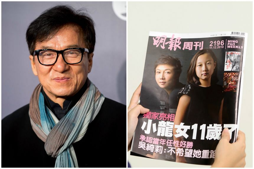 A 2010 copy of Ming Pao Weekly (right) with former actress Elaine Ng and her daughter, Etta Ng on the cover. Etta is Jackie Chan's biological daughter.
