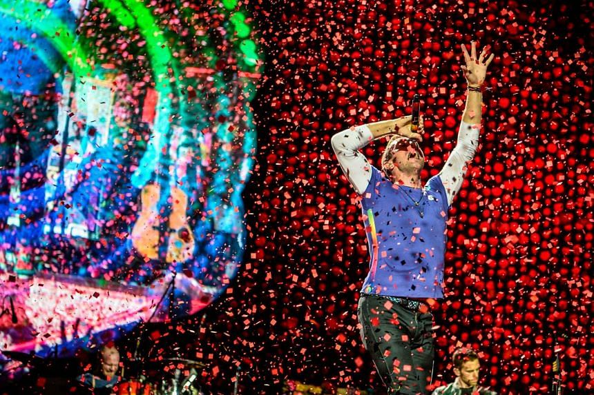Chris Martin of Coldplay on stage at the band's concert in Singapore on March 31.