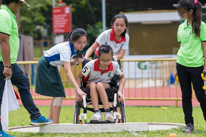 A participant in the Haw Par National Youth Para Athletics Championships on March 31.