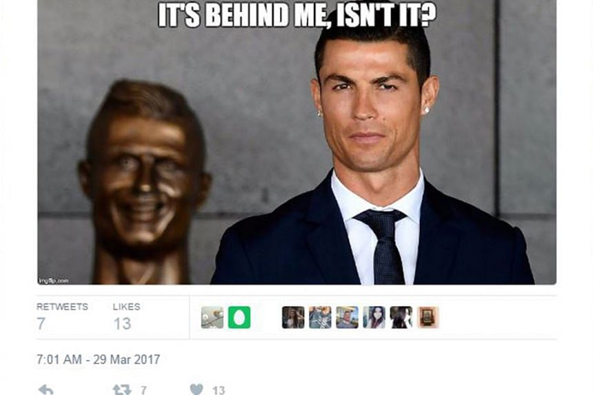 """Social media users seized the chance to mock the bust of Cristiano Ronaldo which was unveiled on the Portuguese island of Madeira. The sculptor, Emanuel Santos, said that his creation was """"not as simple as it seems"""" to produce, explaining that it"""