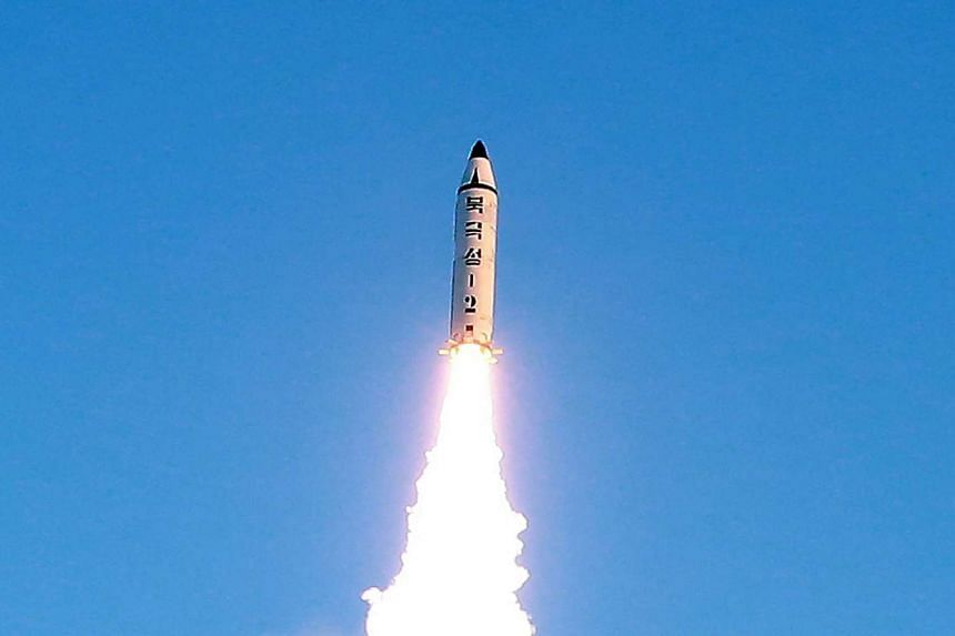 This photo taken on Feb 12, 2017 shows the launch of a surface-to-surface medium long-range ballistic missile Pukguksong-2 at an undisclosed location.