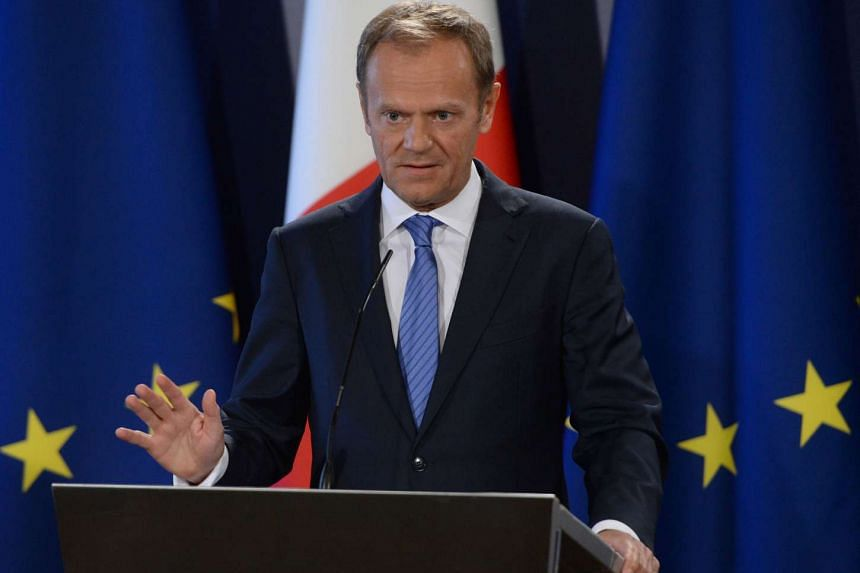 The President of the European Council Donald Tusk speaks during a press conference on March 31, 2017 in St Julian's Malta.