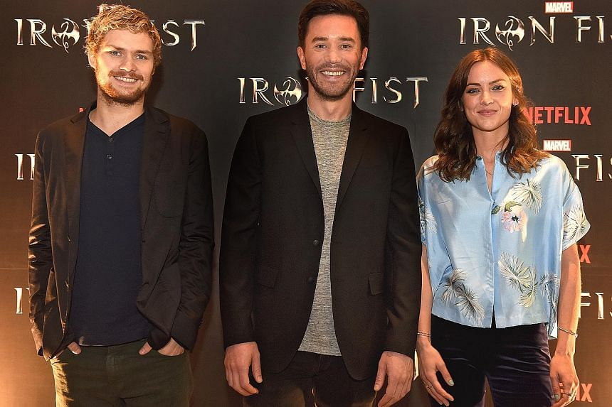 The cast of Iron Fist (from far left) Finn Jones, Tom Pelphrey and Jessica Stroup at the press event yesterday.