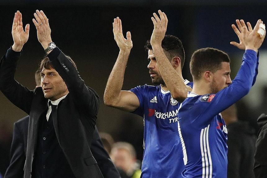 Chelsea manager Antonio Conte can count on his stalwarts Diego Costa (centre) and Eden Hazard - both of whom have recovered from injuries - to lead his Blues out against an in-form Crystal Palace.