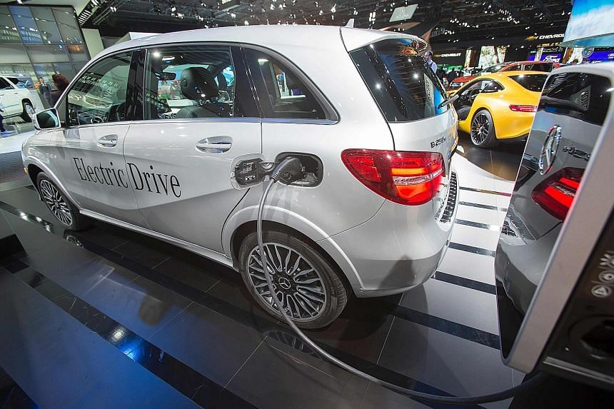 The Mercedes B200e electric car at the 2017 North American International Auto Show in Detroit, Michigan, in January.