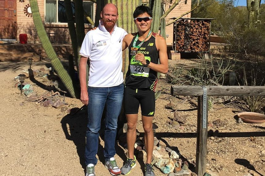 (Above) Steven Quek's scientific approach to running taught Mok Ying Ren how to train smart during his junior days and it continues to have a positive influence on him. (Left): Mok with Lee Troop, under whom he trained at the Boulder Track Club in Co