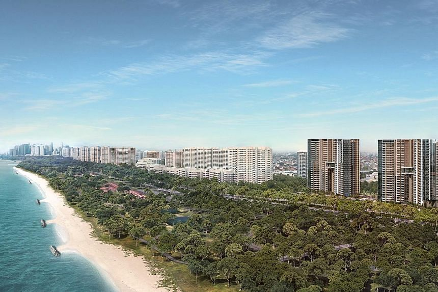 An artist's impression of Seaside Residences in Siglap. It is the first government land sales site along the ECP to face additional design guidelines.