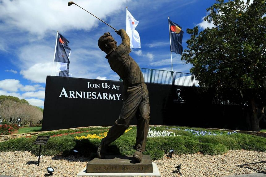 A view of the new Arnold Palmer statue by the first tee during a practise round by MasterCard at Bay Hill on March 14, 2017.