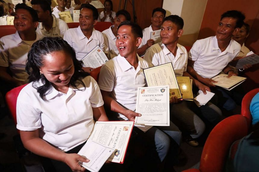 At least 27 Filipinos who have finished a drug rehabilitation programme were presented with certificates declaring them drug-free on Thursday. They were also taken off a police drug watch list.