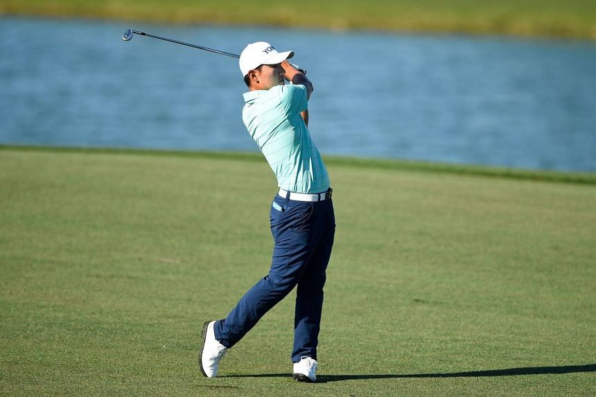 Kang Sung of South Korea playing his shot during the second round of the Shell Houston Open at the Golf Club of Houston on March 31, 2017.