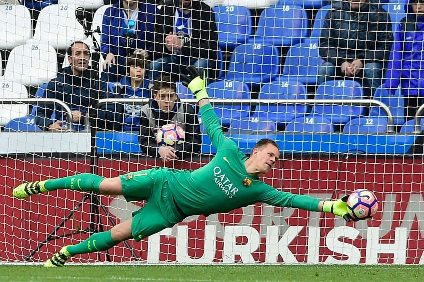 Goalkeeper Marc-Andre ter Stegen in action during a Spanish league football match on March 12, 2017.