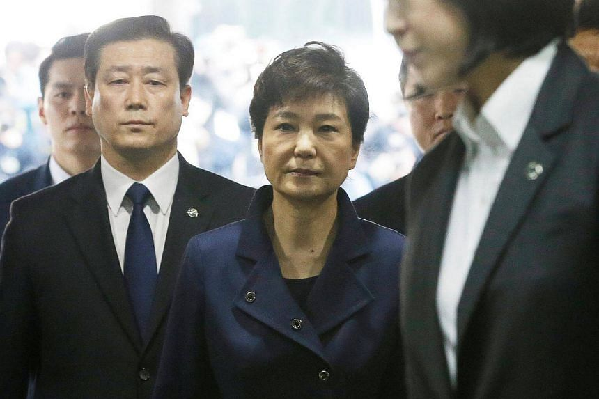 Ousted South Korean President Park Geun Hye arrives for questioning on her arrest warrant at the Seoul Central District Court in Seoul.