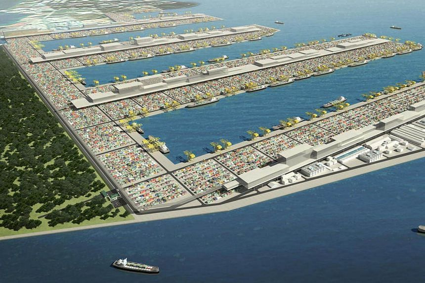 An artist's impression of the Tuas mega port.