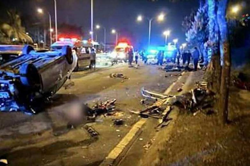 The 22 teenage cyclists were detained at Jalan Lingkaran Dalam, where eight cyclists died when a car rammed into them at about 3am on Feb 18.