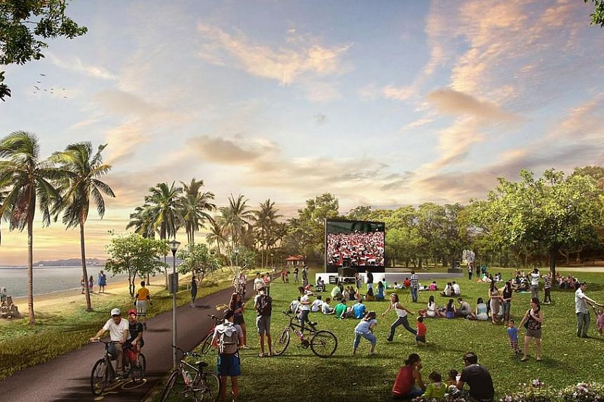 An artist's impression of the future Pasir Ris Park and Beach, which will feature more family-oriented spaces and recreation options.