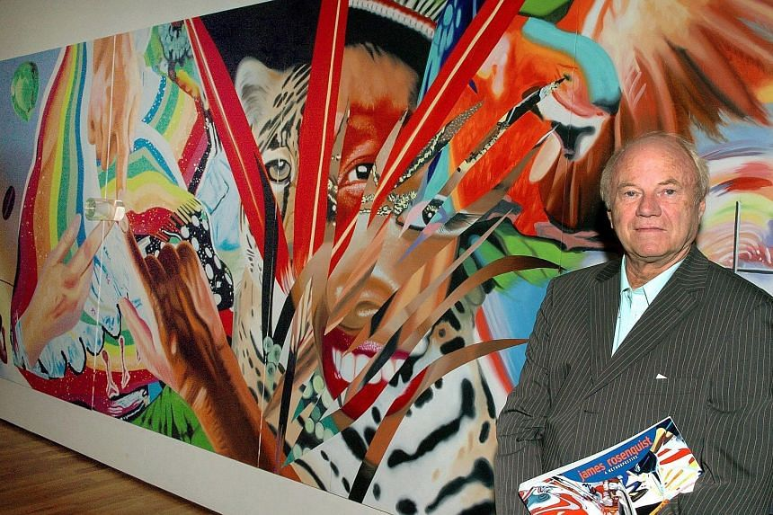 James Rosenquist with his art work, Brazil, at the art museum in Wolfsburg, Germany.
