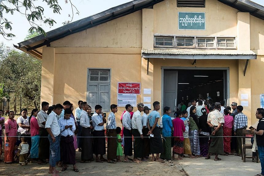Voters waiting to cast their votes in the by-election at Ann Township of Rakhine State, in western Myanmar, last Saturday. Initial results of the country's by-election indicate a measure of discontent among ethnic minorities such as the Rakhine.