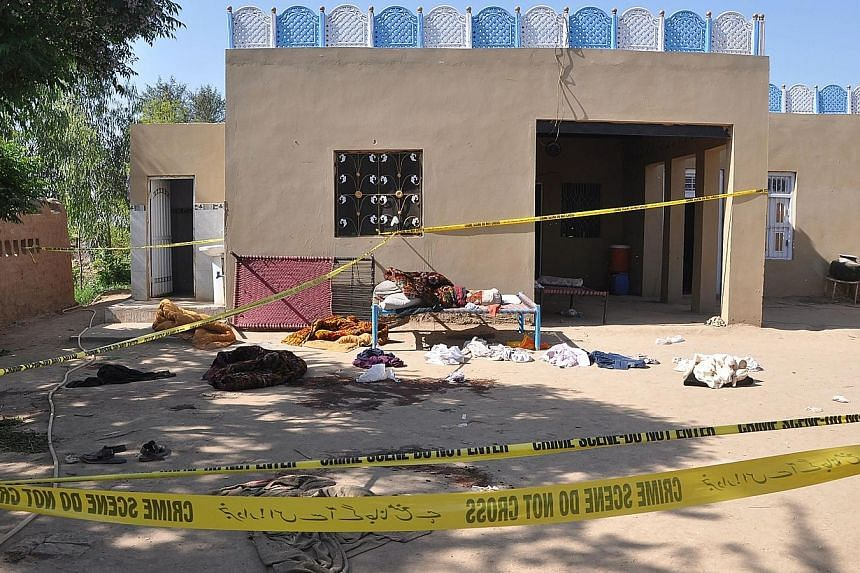 The Sufi shrine, on the outskirts of Sargodha district in Punjab province, where three suspects, including the shrine's custodian, killed 20 people yesterday, according to the police.