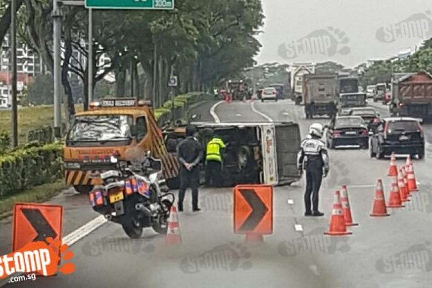 The first accident occurred at 9.59am when a lorry going along PIE, towards Tuas, had turned on its side. No one was injured.
