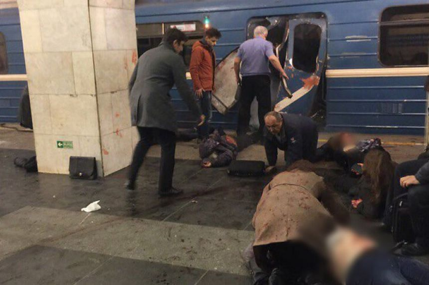 Several people were injured in an explosion in a metro station in St Petersburg on April 3, 2017.