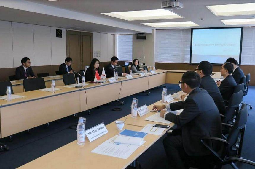 Ms Misako Takahashi (first from left on the front row), director of the economic security division at Japan's Ministry of Foreign Affairs, addresses the Singapore delegation at the first Japan-Singapore Energy Dialogue held on Monday, April 3, 2017