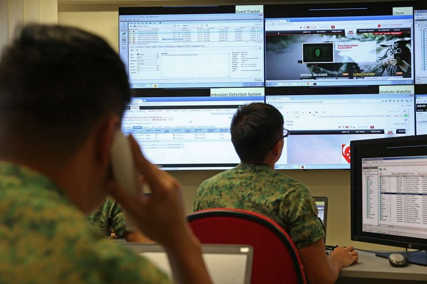 A simulated cyber attack at Mindef's Cyber Test and Evaluation Centre on Feb 27, 2017.