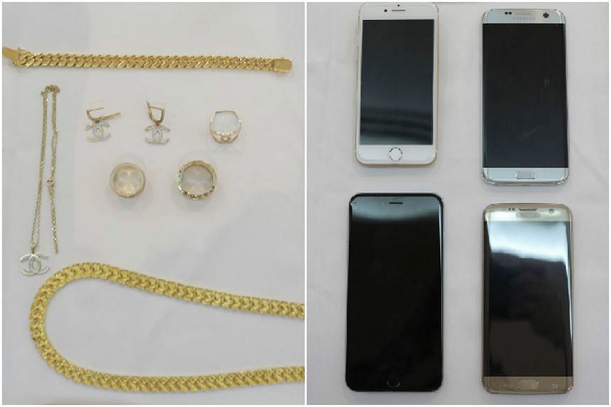 Police officers also seized jewellery and four mobile phones from the three Romanians.