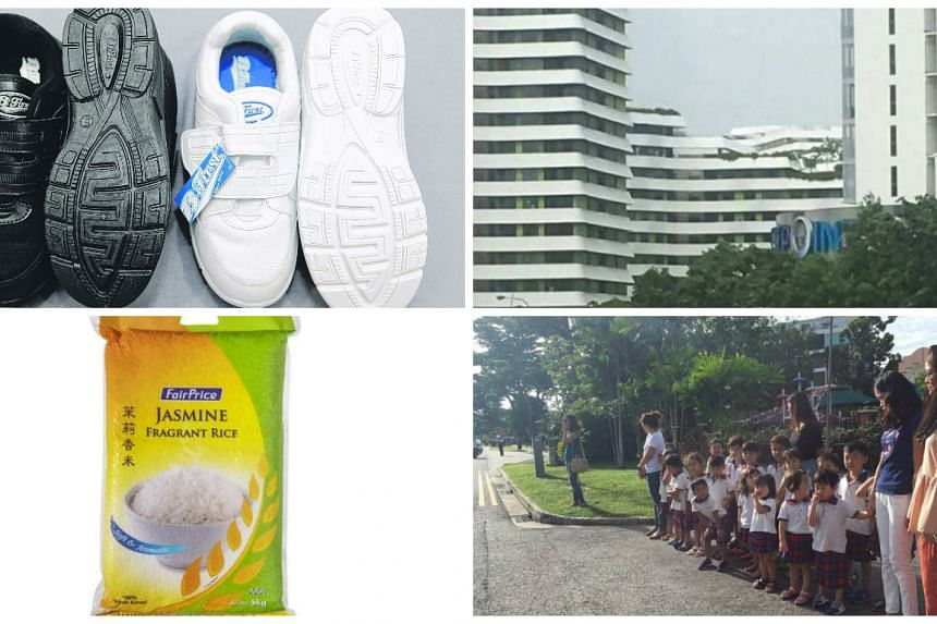 Clockwise from top left: Bata's shoes which were said to have the religious design word Allah on the sole, a faked collapsed structure at Waterway Terrace, kindergartners waiting to send Mr SR Nathan's hearse off  and NTUC's rice.
