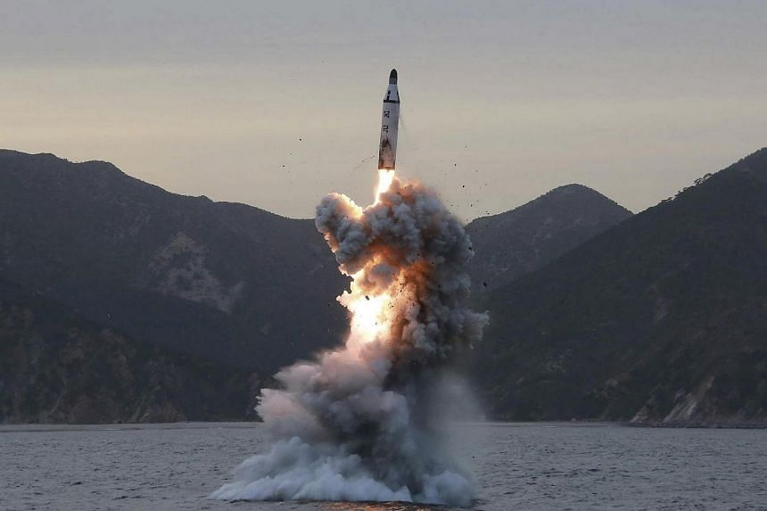 An undated file photo released by the North Korean Central News Agency shows an underwater test-fire of strategic submarine ballistic missile conducted at an undisclosed location in North Korea.
