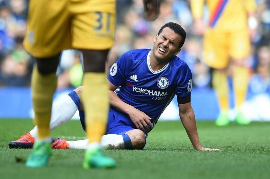 Chelsea Pedro reacting after missing an opportunity to score during the English Premier League match between Chelsea FC and Crystal Palace at Stamford Bridge in London, Britain, on April 1, 2017.