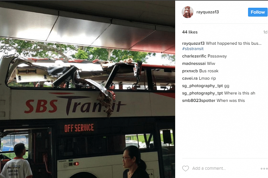 A double decker bus got its top sheared off after crashing into a taxi stand roof on Sunday (April 2) morning. No one was injured.