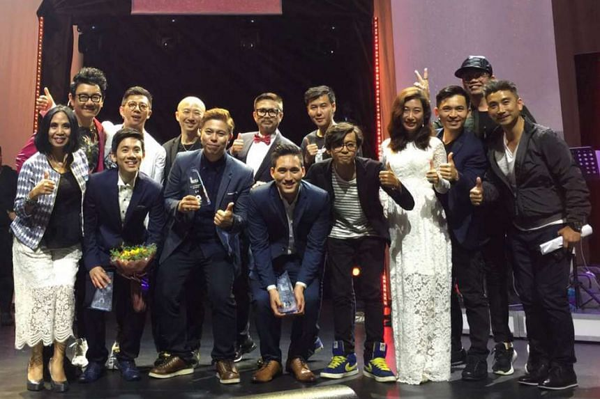 Winner Marcus Lee (front row, fourth from left), first runner-up Daniel Ong (front row, second from left) and second runner-up Hee Hong Leong (front row, third from left) with other contestants at last Saturday's audition.